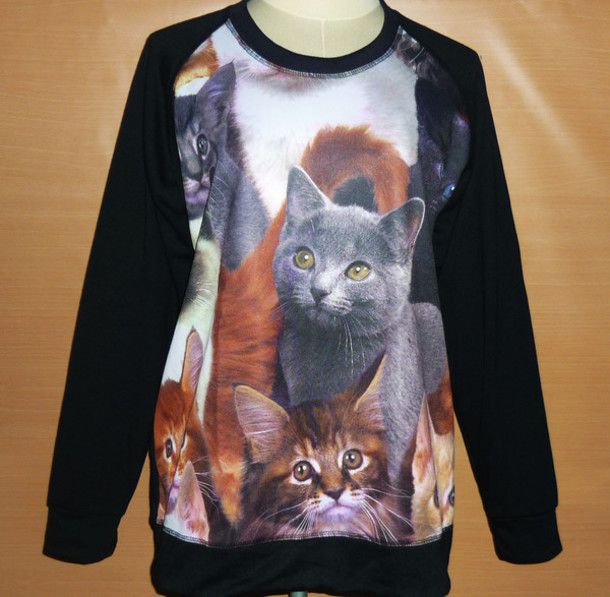 crewneck cat sweater cats sweater