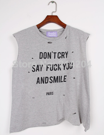 Don't Cry Say Fuck You And Smile Harajuku Punk Rock Distressed Holes Muscle Tank Tops women's irregular cut out shirts tomboy-inTank Tops from Apparel & Accessories on Aliexpress.com