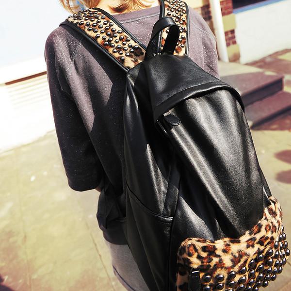 bag backpack black leopard print