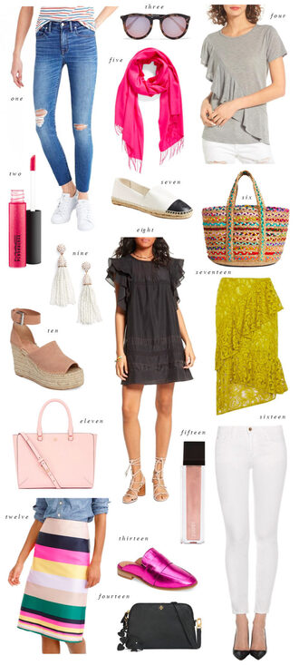 ivory lane blogger jeans sunglasses top scarf bag shoes dress jewels skirt wedge sandals raffia bag white jeans loafers