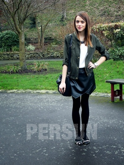 PU Leather Skirt with Special Hem [FMCC0188] - PersunMall.com