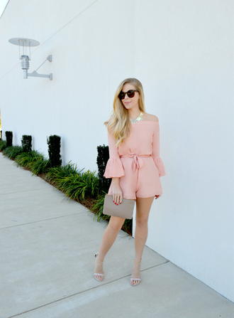 fash boulevard blogger romper sunglasses bag jewels shoes pink romper clutch sandals bell sleeves