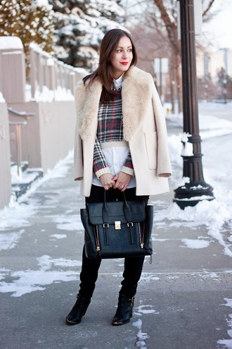 adventures in fashion blogger winter coat cropped sweater tartan winter outfits satchel bag