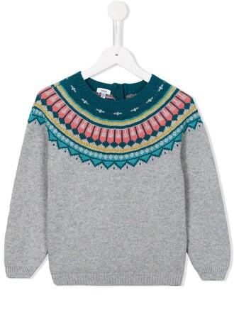 jumper girl jacquard geometric grey sweater