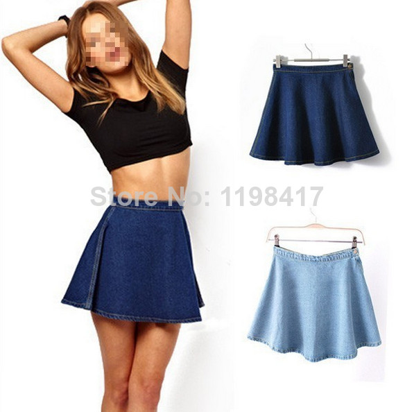 Women's Summer High Waist Sexy Denim A Line Mini Skirts Circle Pleated Skirts Free Shipping-in Skirts from Apparel & Accessories on Aliexpress.com