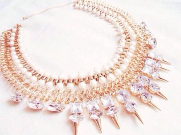jewels necklace diamonds gold bright studs white