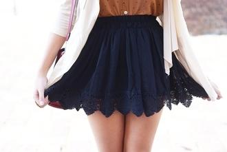 skirt blue laced navy high waisted skirt lace trim blue skirt skater skirt tumblr pretty cute