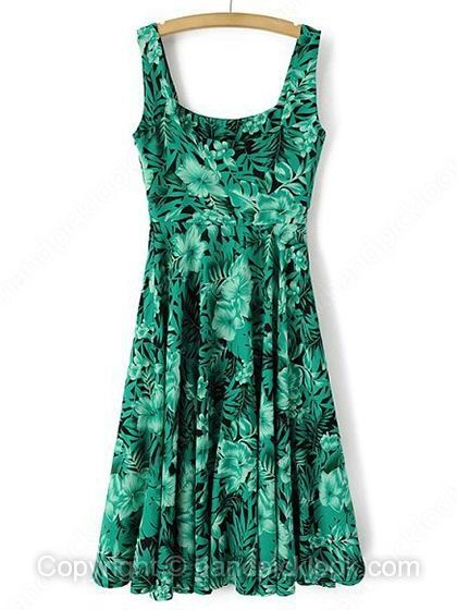 Green Straps Sleeveless Floral & Leaves Print  Dress - HandpickLook.com