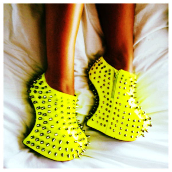 shoes neon high heels platform high heels studs spikes yellow