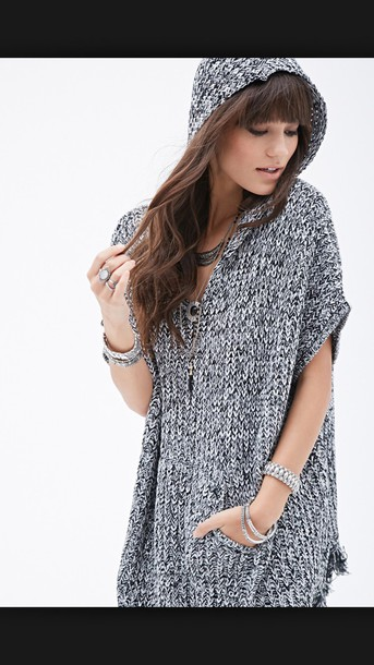 sweater hooded poncho forever 21
