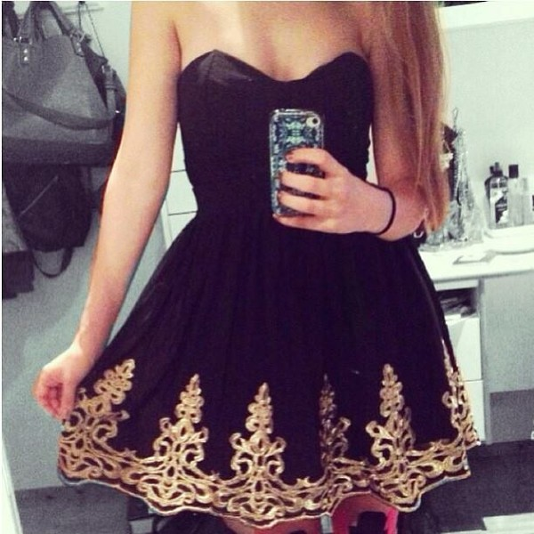 dress little black dress short mini black charcoal ash sweetheart sweet heart neckline gold filigree pattern swirls heart frilly girly tulle skirt silk sash satin summer spring nigt nightlife smokey black and gold dress