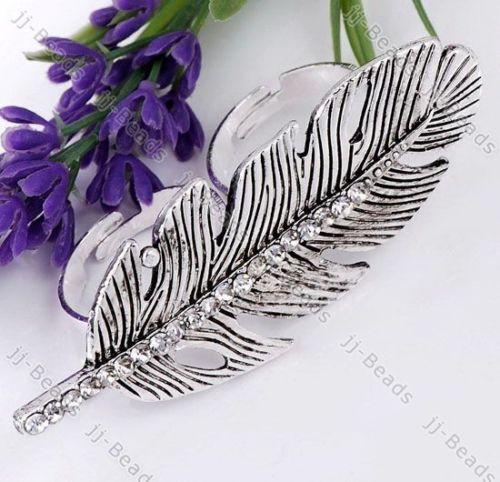 1 White Rhinestone Crystal Feather Leaf Adjustable Ring | eBay