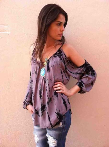 shirt lavender batwing shirt tie dye shirt