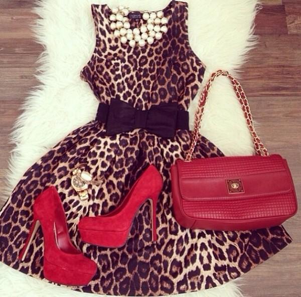 dress leopard print leopard print brown black bow