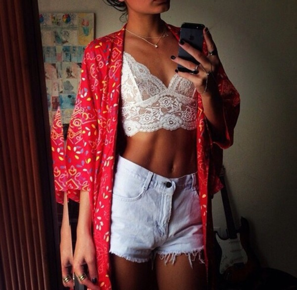 blouse white too lace pretty summer cute crop tops crop tops shorts jacket jewels