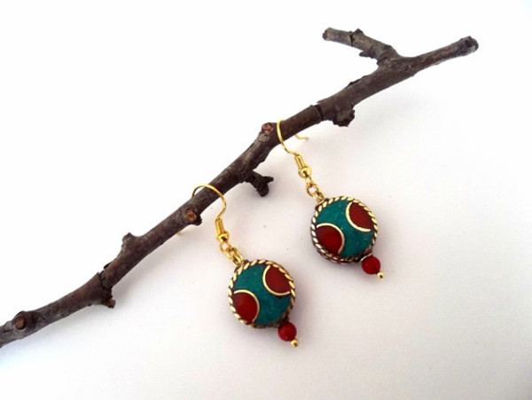 jewels earrings nepal earrings turquoise coral jewelry red blue