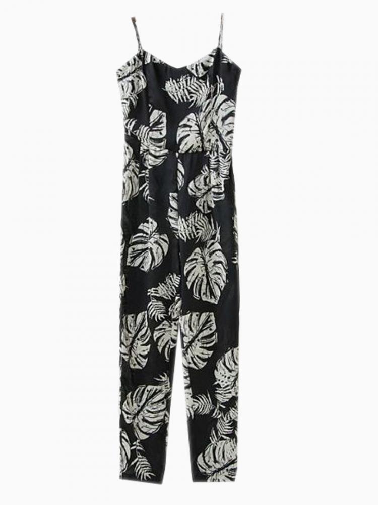 Black Strap Jumpsuit With Coconut Tree Print | Choies