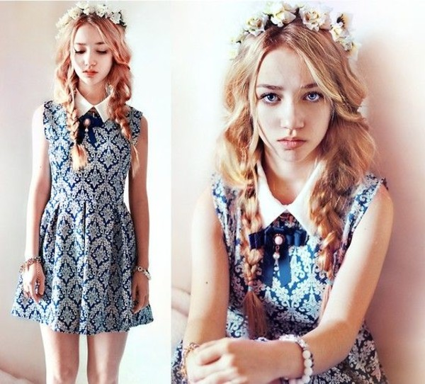 dress flower crown chicwish aksinya air ukraine collared dress mini dress blue and white
