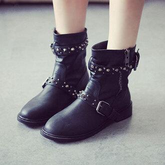 shoes boot black mid calf low heel