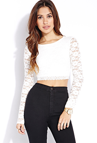 Sweet Side Lace Crop Top | FOREVER 21 - 2000129675