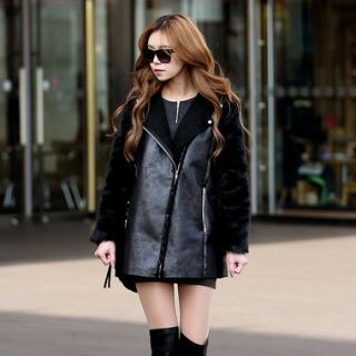 Faux-Leather Long Rider Jacket, Black , One Size - Koo | YESSTYLE