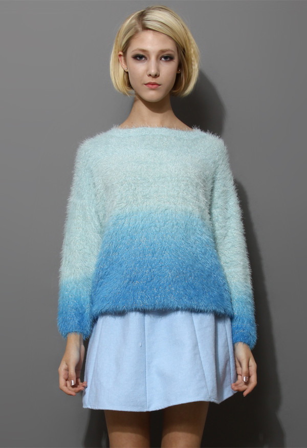 sweater blue color ombre fluffy