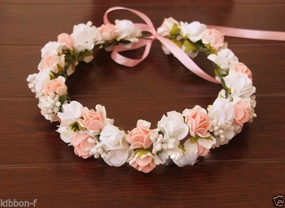 Double Layers Two Pink White Rose Cute Flower Crown Floral Fairy Pastel Foam | eBay