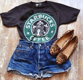 t-shirt starbucks coffee shoes shorts logo