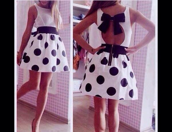 white dress dots print bows polka dots
