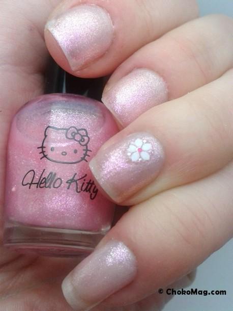 nail polish nails iris? hello kitty sanrio flowers japan light blouse