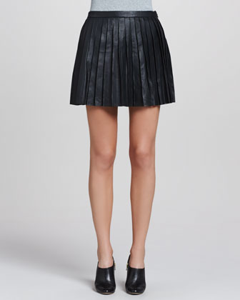 Theory Caon Discens Pleated Leather Skirt - Neiman Marcus