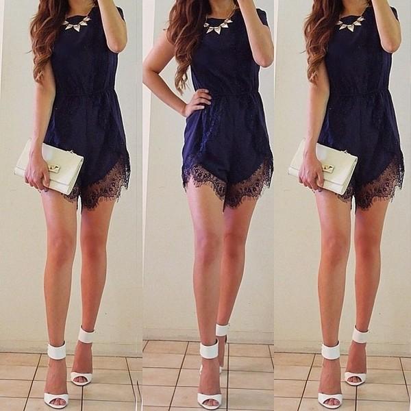 dress blue dress white high heels lace dress white clutch shorts shoes jewels black romper lace