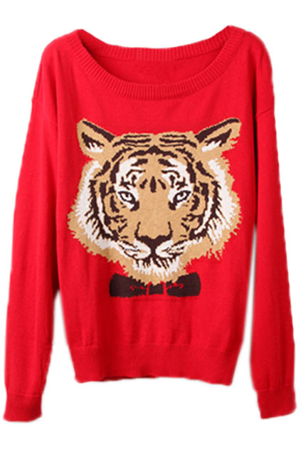 ROMWE | Tiger Head Red Jumper, The Latest Street Fashion