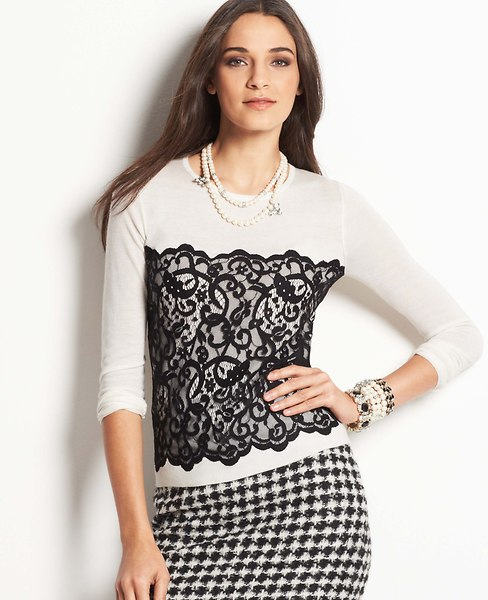 Lace Overlay Sweater | Ann Taylor