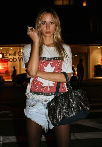 shirt maple leaf tights and shorts gillian zinser the rolling stones casual shorts studded denim shorts pretty canada canadian vintage purse black ring tights bag