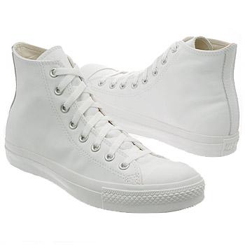 Athletics Converse Men's All Star Leather Hi White Monochrome Shoes.com