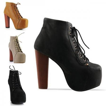 Women Ladies Fashion 4 Color Lita Platforms High Heels Lace Up Boots Ankle Shoes | eBay