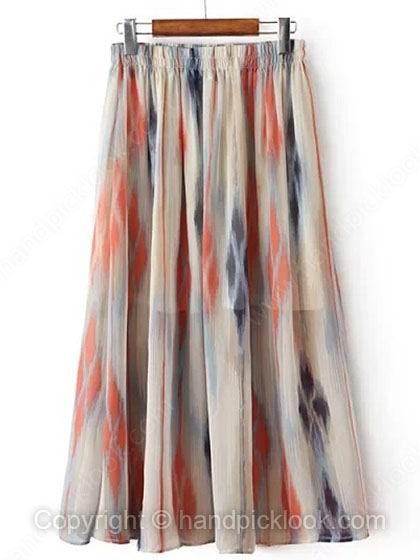 Multicolor Elastic Waist Color Block Chiffon Skirt - HandpickLook.com