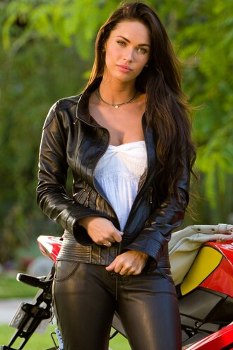 jacket megan fox perfecto leather jacket leather pants blouse jewelry transformers pants necklace jewels