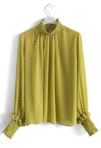 shirt dotted flocks chiffon top in mustard chicwish mustard chiffon top dotted
