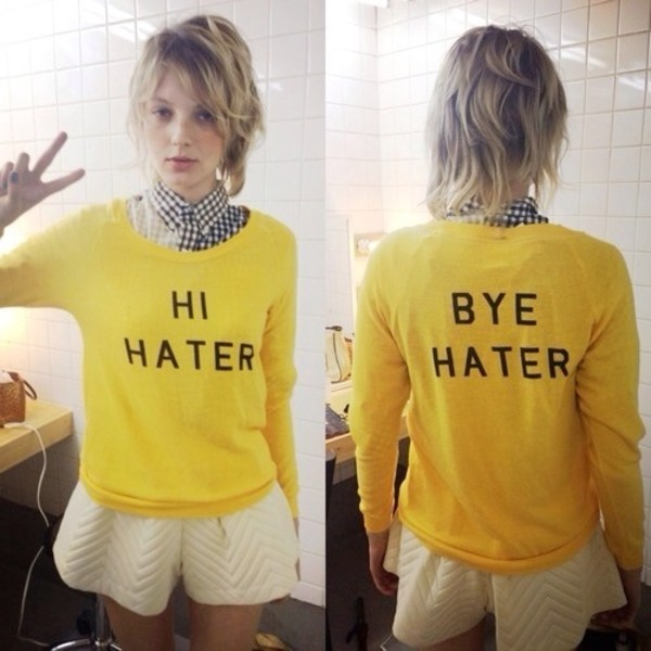 sweater yellow sweater hipster haters cute sweaters hi hater bye hater yellow