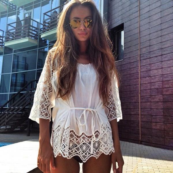 blouse white lace bikini loose