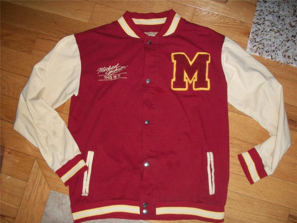Official Michael Jackson Thriller This Is It Letterman Track sweat Jacket Coat L   eBay