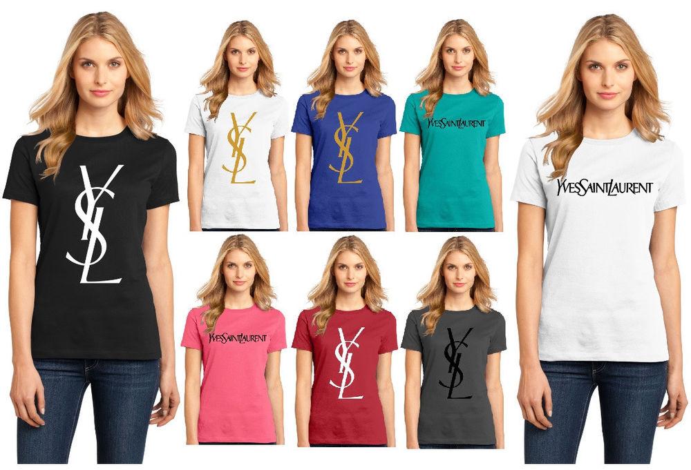 New Women's YSL Yves Saint Laurent T Shirt Ladies Shiny Gold Black White XS 4XL | eBay