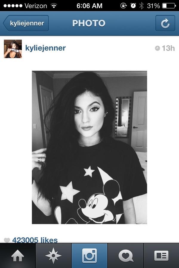 shirt black kylie jenner mickey mouse t-shirt blouse