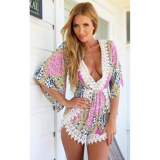 romper mischievous socialite dress deep v lace trim shorts colorful patterns