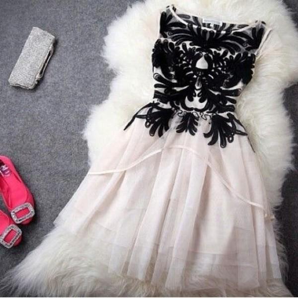 dress fit and flare vintage dress vintage black and white prom dress black
