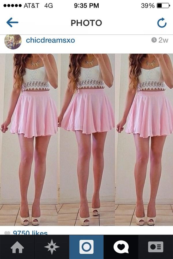 skirt pink circle skirt skater skirt crop tops shirt top