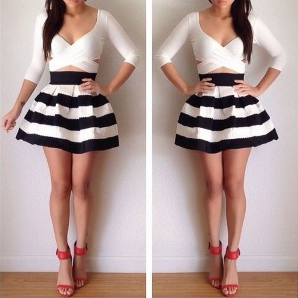 shirt white crop tops crop tops cute skater skirt skirt blue white stripes pretty beautifull girl girly striped skirt stripped skirt blouse black and white