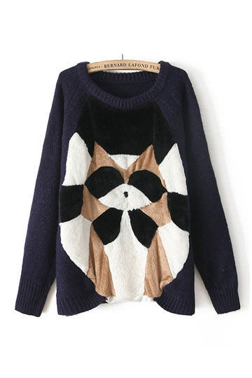 Lovely Color Block Cat Pattern Sweater [FKBJ10414]- US$ 43.99 - PersunMall.com